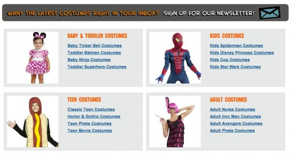 Costume Express site
