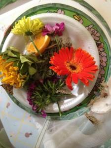 Flowers, fresh fruit, and sugar water.