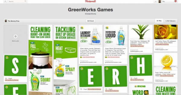 GreenWorks Games Pinterest Board
